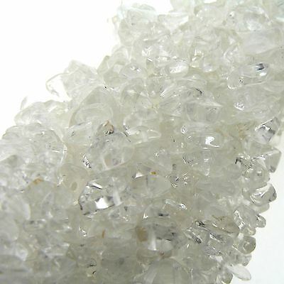 "Crystal Quartz Chip Beads 35"" Strand Semi Precious Gemstone"