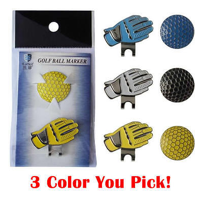 Metal Gloves Golf Ball Marker Magnetic Hat Cap Clip White / Blue / Yellow NEW