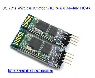 2Pcs Wireless Bluetooth RF Serial Transceiver Module HC-06 RS232 With Backplane