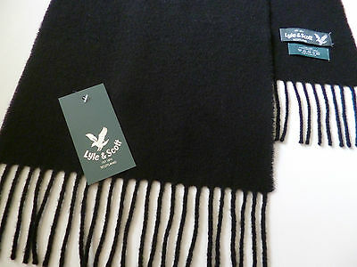 Lyle and & Scott black lambswool scarf NEW mens womens ladies wool woollen