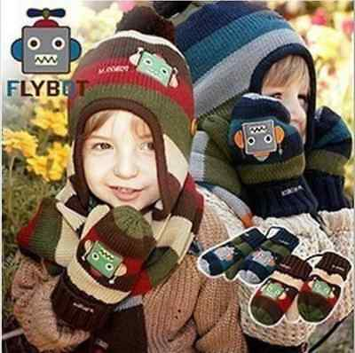 NEW Kid Girls & Boys Robots children's gloves winter warm mittens gloves