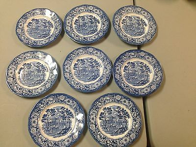 "Liberty Blue Colonial Historical Scenes 8 Bread Plates 6"" Monticello Excellent"