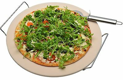 Ceramic Pizza Stone Baking Cooking Set Chrome Stand & FREE Pizza Cutter 32cm
