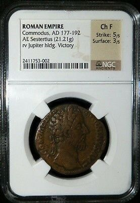 177-192 Ad Bronze Ancient Rome Sestertius Commodus / Jupiter Ngc Choice Fine