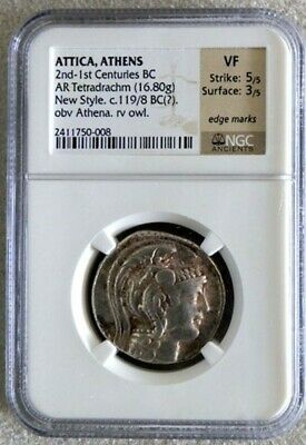 2nd - 1st CENTURIES BC SILVER ATTICA ATHENS TETRADRACHM NGC VERY FINE 5/3
