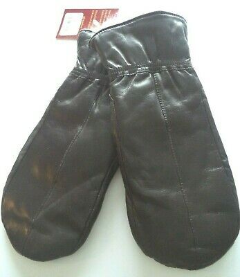 Cire White Rabbit Fur Lined, Soft Genuine Leather Finger Mittens Brown
