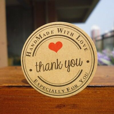 Round Paper Labels 'Thank you, Hand made with love' Gift Food Craft Stickers RD