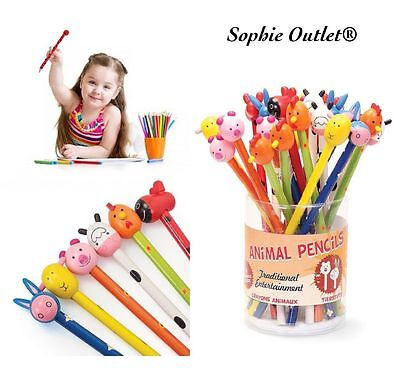 Kids Novelty Wooden Animal Pencils Shaped Game Toy Prizes Party Bag Filler Gifts