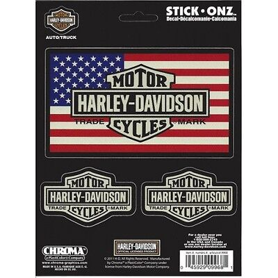 "Harley-Davidson Bar and Shield American Flag Decal 5 1/4"" x 2 7/8"" + 2 more"