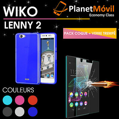 Wiko Lenny 2 Coque Tpu Silicone Housse + Vitre Protection Verre Trempe Film