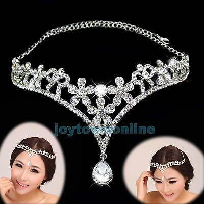 Rhinestone Flower Frontlet Forehead Band Wedding Bridal Prom Jewelry Headpiece