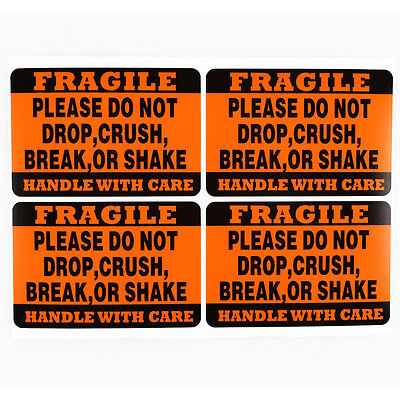 100 2x3 FRAGILE HANDLE/CARE DO NOT DROP CRUSH BREAK OR SHAKE labels stickers