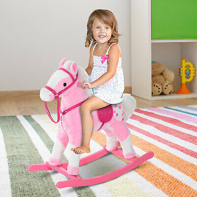 Rocking Horse Toy Plush Wood Pony Riding Rocker Neigh Sound Pink