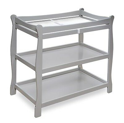Baby Infant Sleigh Style Changing Table For Nursery Gray Grey NEW
