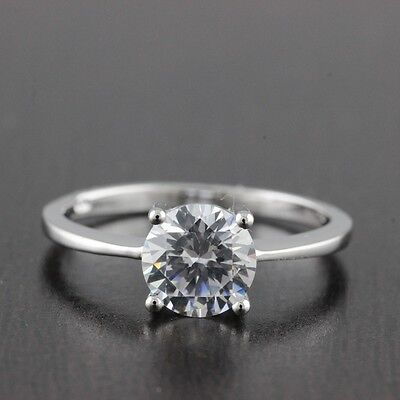 Womens Solid 925 Sterling Silver CZ Solitaire 8mm Engagement Ring