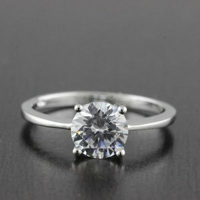 Womens Solid 925 Sterling Silver CZ Solitaire 7mm Engagement Ring