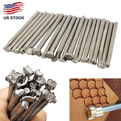 New 20pcs Leather Working Saddle Making Stamps Tools DIY Leather Craft Tools Set