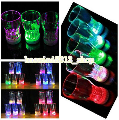 LED Flashing Glowing Water Liquid Activated Light-up Wine Glass Cup Mug Party BO