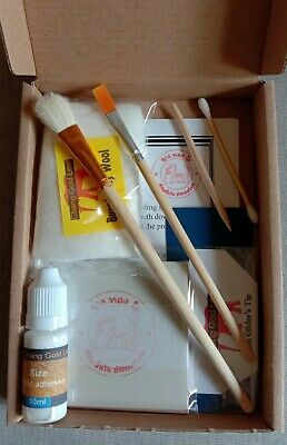 100 Sheet Gold Leaf Kit + Gilding Gloves + Acrylic Size Adhesive Glue + Brush
