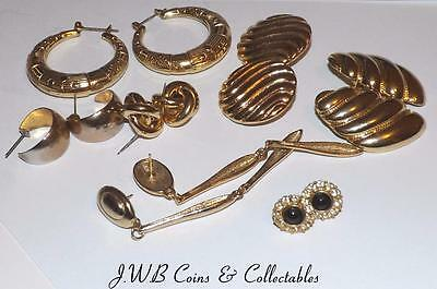 Lot Of Vintage & Modern Costume Gold Coloured Earrings - Nice Collection
