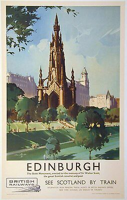 Vintage Rail travel railway poster  A4 RE PRINT Edinburgh