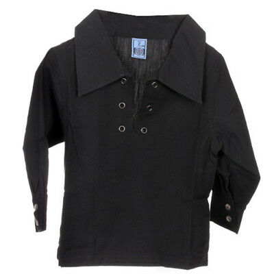 New For Kilts Scottish Boys Deluxe Ghillie Shirt in Black Age Range of Sizes
