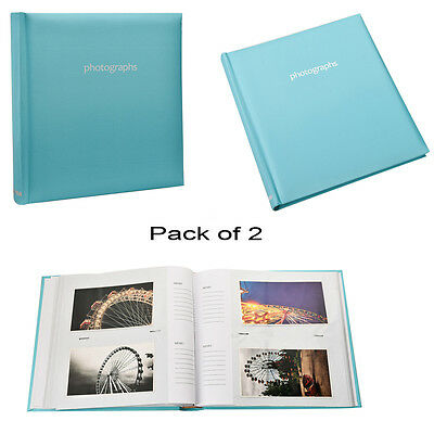 2X Large Blue 5 x 7 Slip In Case Memo Photo Album For 120 Holds - AL-9143-2PK