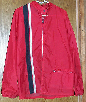 Mens Size Large Red Le Mans Racing Stripe Windbreaker Jacket L Hotrod Ford Cobra