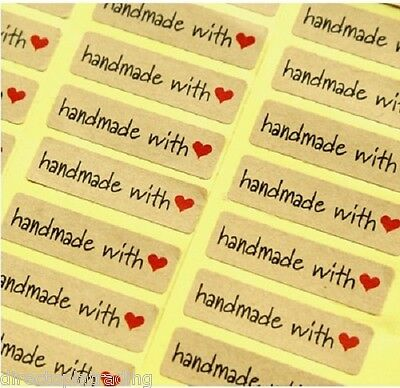 Rectangular Paper Labels 'Hand made with love' Gift Food Kraft Craft Stickers RD