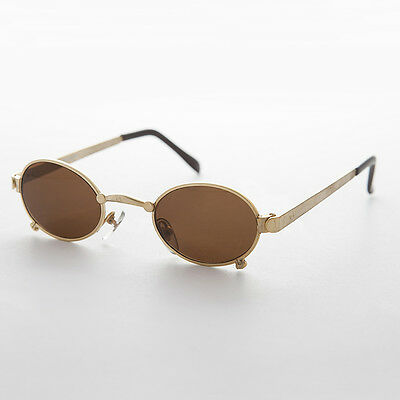 Small Oval Steampunk Spectacle Vintage Sunglass Gold NOS - Edison