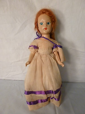 """Rare Antique 1900's Wood Composition Wooden Doll~11"""" Tall~Red Hair~Blue Eyes"""