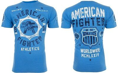 AMERICAN FIGHTER Mens T-Shirt NORTH CAROLINA Athletic BLUE Biker Gym MMA UFC $40