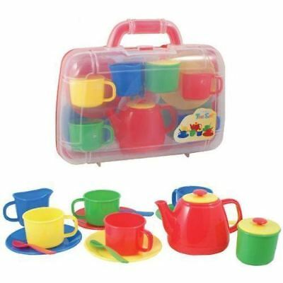 Tea Set in Carry Case Play Set childrens roleplay Toy Plastic Primary Teaset New