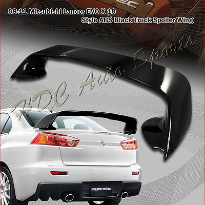 For Mitsubishi Lancer Evolution X / 10 ABS Painted Black Rear Trunk Spoiler Wing