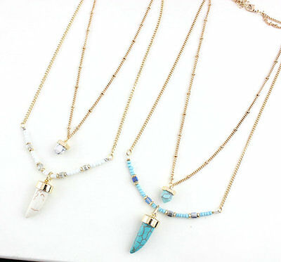 Designer Gold Plating double layer Turquoise Stone Bead horn Pendant Necklace