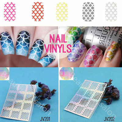 12 Tips/Sheet Nail Vinyls Nail Art New Stencil Hollow Stickers Stamping Manicure