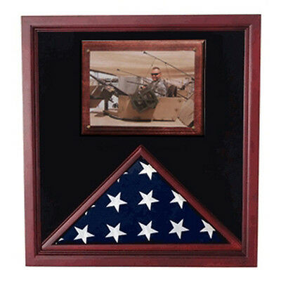 Army Air Corps Flag Shadow Case, Flag Frame With Photo Display Made By Veterans
