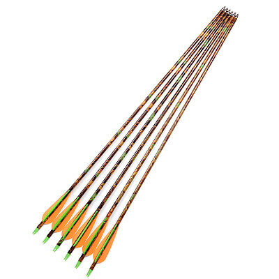 """Camouflage 30"""" Aluminum Archery Dia 8.8mm for Compound Bow Hunting arrows X6"""