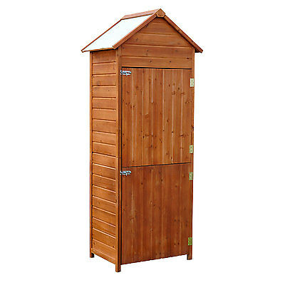 Outsunny Outdoor Patio Vertical Storage Shed Wood Cabinet Unit Two Doors Garden