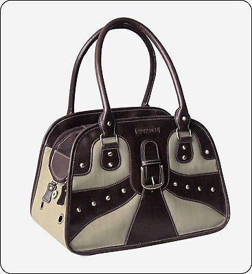 Backbone Strong Canvas Brown Faux Leather Dog Cat Pet Carrier 60%Off BA7103