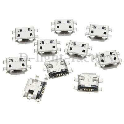 10x Micro USB Type B Female 5Pin Socket 4Legs SMT SMD Soldering Connector Phone