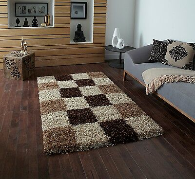 Beige Small X Large Modern Shaggy Rug Luxury Checked Thick Soft 5cm Mats Rugs