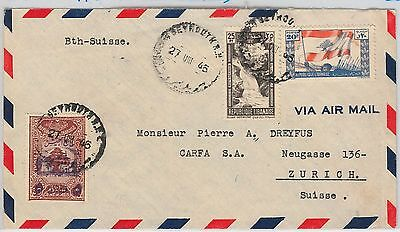 LIBYA  -  POSTAL HISTORY: AIRMAIL COVER to SWITZERLAND 1946