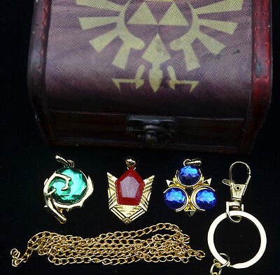 Legend of Zelda Twilight Princess necklace / keychain set+Winged logo wood box