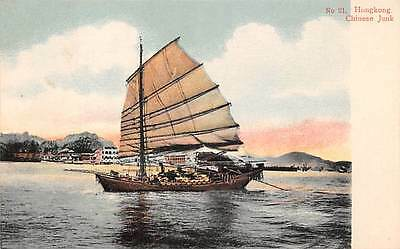 HONG KONG, CHINA, CHINESE JUNK IN HARBOR,  H.K. PICTORIAL PC CO, PUB, c. 1902