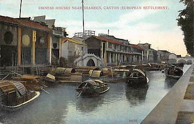 CANTON, CHINA, HOUSES NEAR SHAMEEN, CANAL VIEW, BOATS, C. PIENS PUB c. 1904-14