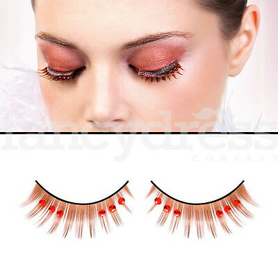 675e74daff2 BACI Thick Brown Eyelashes with Red Gems Fancy Dress New Years False Lashes  513