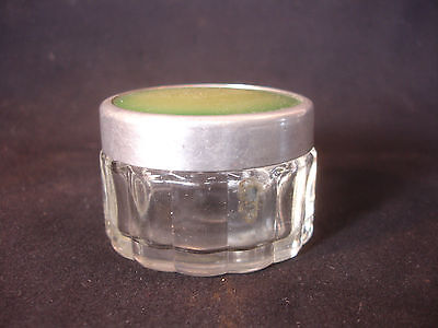 Old Vtg Antique Decorative Glass Jar with Green Color Lid