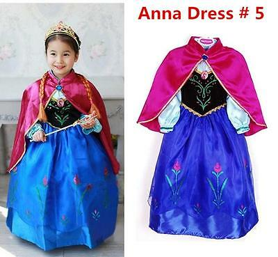 FROZEN Princess Anna Elsa Queen Girls Cosplay Costume Party Formal Dress Anna #5
