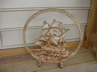 Old Vtg Decorative Painted Round Cast Iron Ship Boat Fireplace Screen